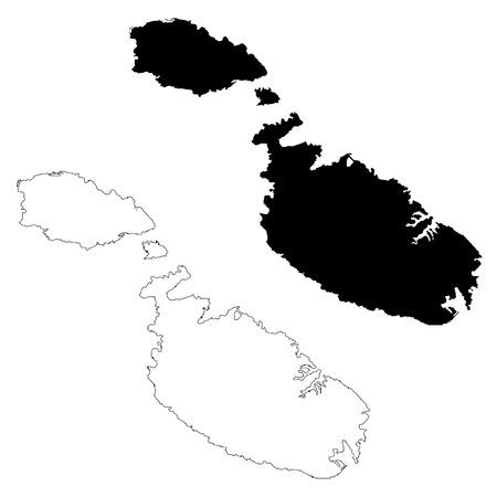 Vector map Malta. Isolated vector Illustration. Black on White background. EPS 10 Illustration.  Illustration