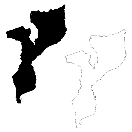 Vector map Mozambique. Isolated vector Illustration. Black on White background. EPS 10 Illustration.