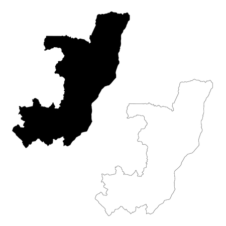 Vector map Democratic Republic of the Congo. Isolated vector Illustration. Black on White background. EPS 10 Illustration.