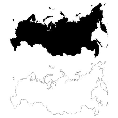 Vector map Russia. Isolated vector Illustration. Black on White background. EPS 10 Illustration.