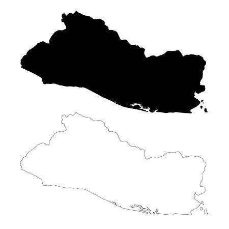 Mapa del vector Salvador. Ilustración de vector aislado. Negro sobre fondo blanco. Ilustración EPS 10.