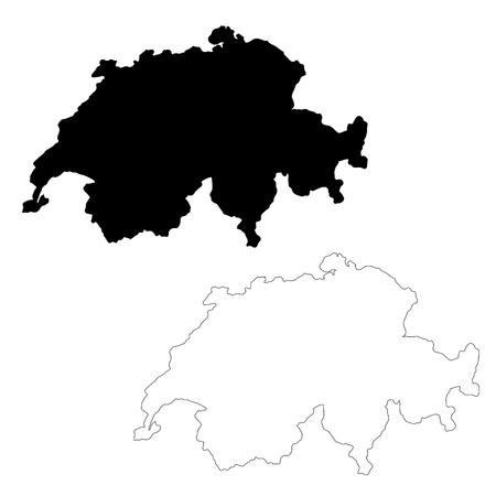 Vector map Switzerland. Isolated vector Illustration. Black on White background. EPS 10 Illustration. Vectores