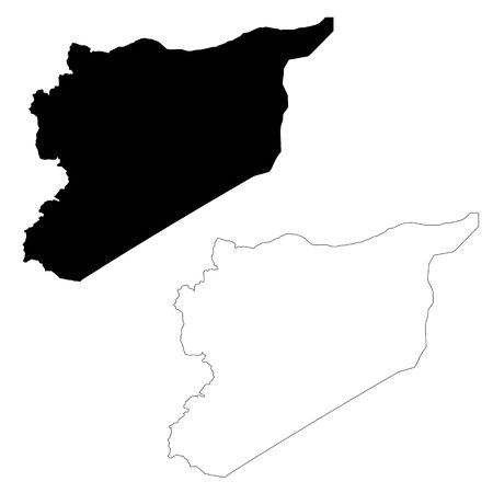 Vector map Syria. Isolated vector Illustration. Black on White background. EPS 10 Illustration.