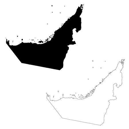 Vector map United Arab Emirates. Isolated vector Illustration. Black on White background. EPS 10 Illustration.