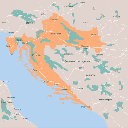 Vector map Croatia. Isolated vector Illustration. EPS 10.
