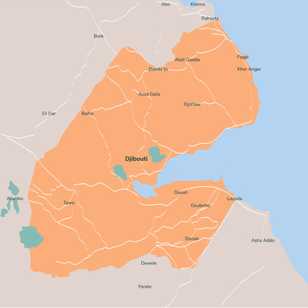 Vector map Djibouti. Isolated vector Illustration. EPS 10.