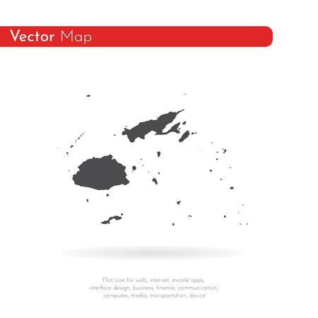 Vector map Fiji. Isolated vector Illustration. Black on White background. Фото со стока - 129971520