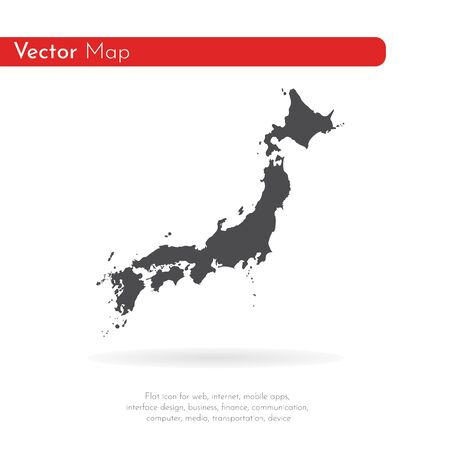 Vector map Japan. Isolated vector Illustration. Black on White background.