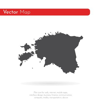 Vector map Estonia. Isolated vector Illustration. Black on White background.