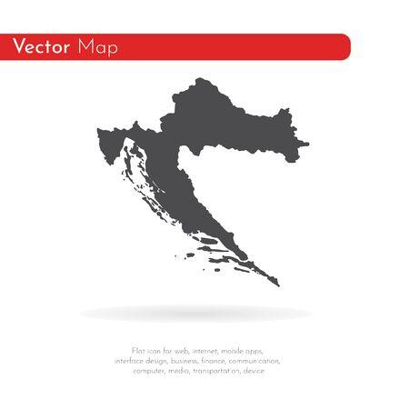 Vector map Croatia. Isolated vector Illustration. Black on White background. Stock fotó