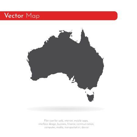 Vector map Australia. Isolated vector Illustration. Black on White background.