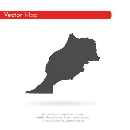 Vector map Morocco. Isolated vector Illustration. Black on White background.