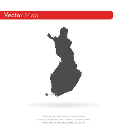 Vector map Finland. Isolated vector Illustration. Black on White background.