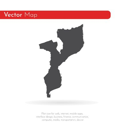 Vector map Mozambique. Isolated vector Illustration. Black on White background.
