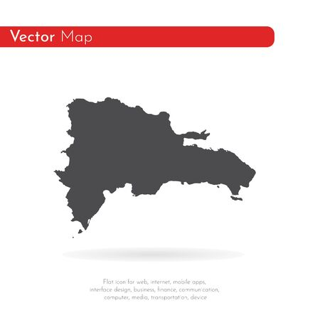 Vector map Dominican Republic. Isolated vector Illustration. Black on White background. 版權商用圖片