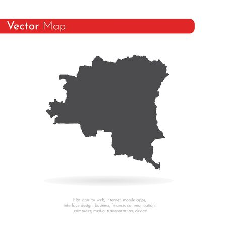 Vector map Democratic Republic of the Congo. Isolated vector Illustration. Black on White background. Reklamní fotografie
