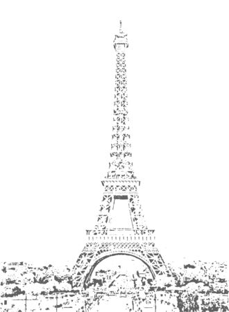 Eiffel Tower vector sketch. Hand drawn vector illustration