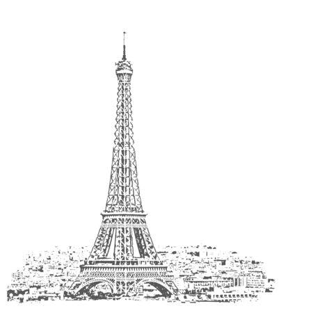 Eiffel Tower vector sketch. Paris, France. Vector Illustration. Zdjęcie Seryjne