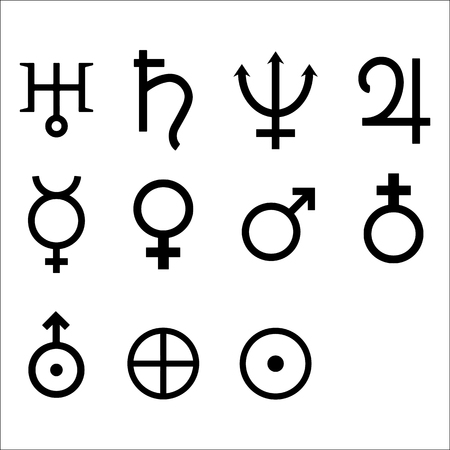 Zodiac and astrology symbols of the planets. Vector Illustration. Stock Photo