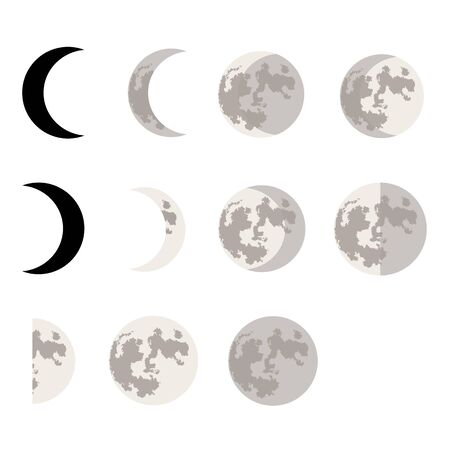 Moon phases symbols. Vector Illustration.