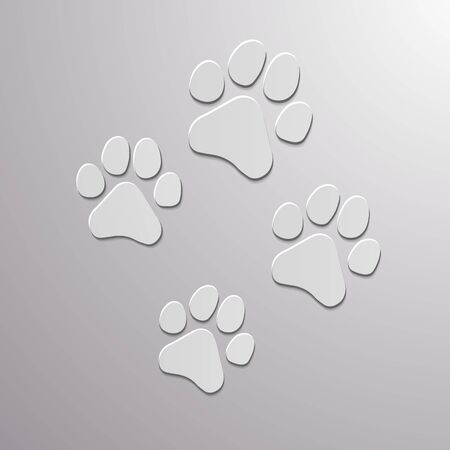 Paw Prints. Logo. Vector Illustration. Isolated vector Illustration. Standard-Bild - 129974110