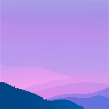 Pink mountains in the fog. Seamless background. Mountain nature silhouette.