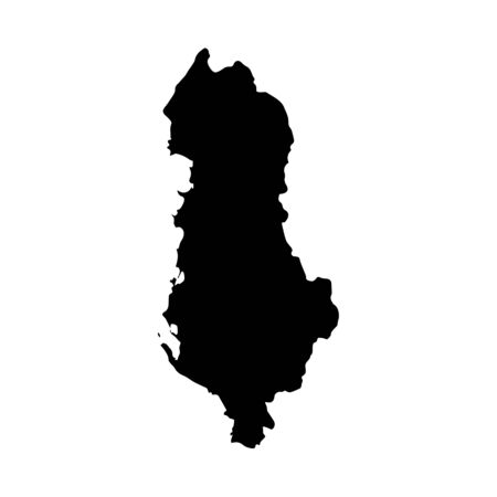Vector map Albania. Isolated vector Illustration. Black on White background.