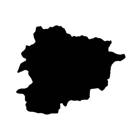 Vector map Andorra. Isolated vector Illustration. Black on White background.