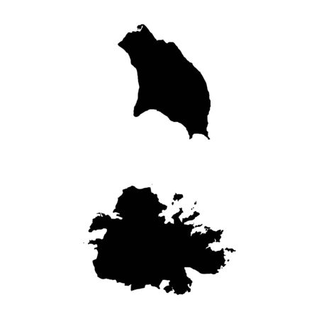 Vector map Antigua and Barbuda. Isolated vector Illustration. Black on White background.