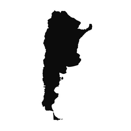 Vector map Argentina. Isolated vector Illustration. Black on White background. Banco de Imagens