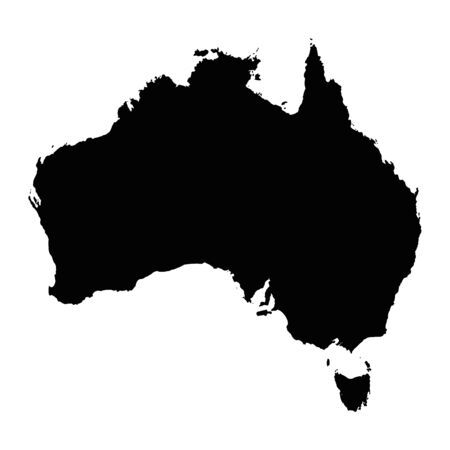 Vector map Australia. Isolated vector Illustration. Black on White background.