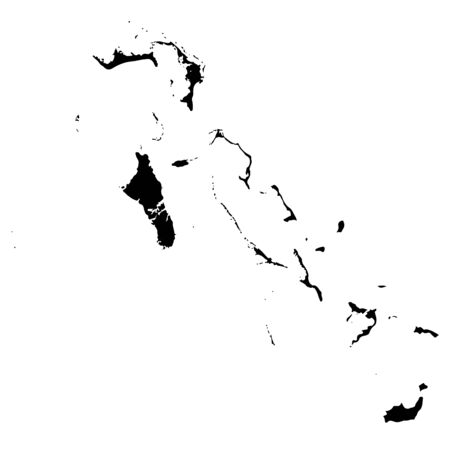 Vector map Bahamas. Isolated vector Illustration. Black on White background.