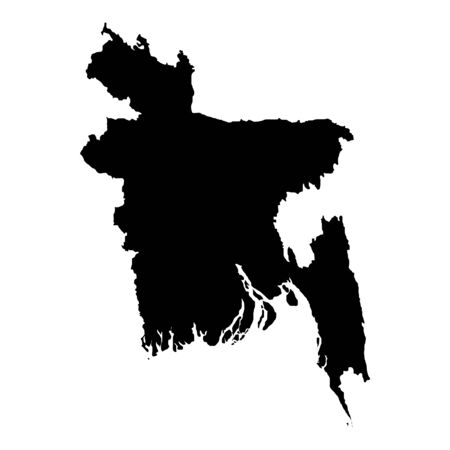 Vector map Bangladesh. Isolated vector Illustration. Black on White background.