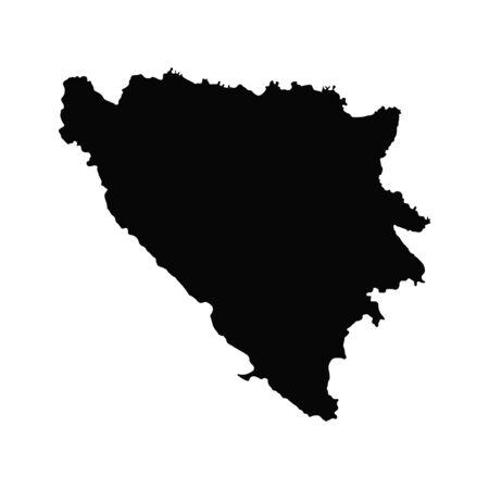 Vector map Bosnia and Herzegovina. Isolated vector Illustration. Black on White background.