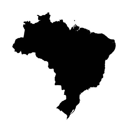Vector map Brazil. Isolated vector Illustration. Black on White background.