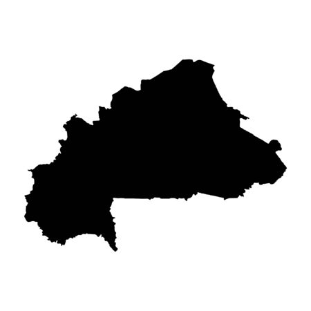 Vector map Burkina Faso. Isolated vector Illustration. Black on White background. Banco de Imagens