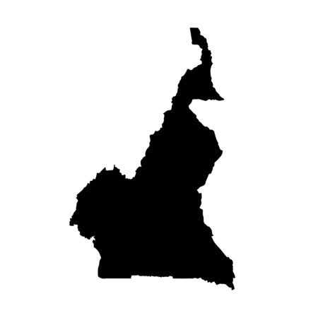 Vector map Cameroon. Isolated vector Illustration. Black on White background.