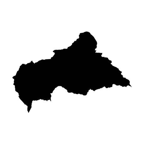 Vector map Central African Republic. Isolated vector Illustration. Black on White background.