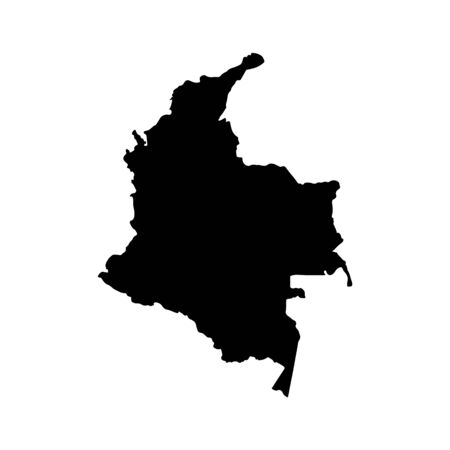 Vector map Colombia. Isolated vector Illustration. Black on White background. Banco de Imagens