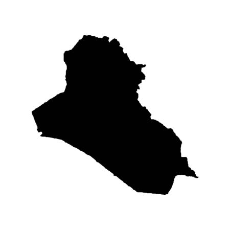 Vector map Iraq. Isolated vector Illustration. Black on White background. Banco de Imagens