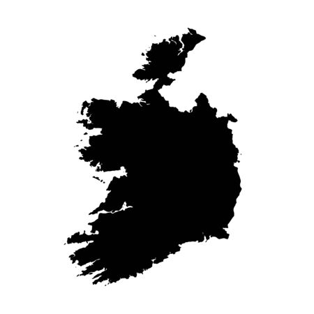 Vector map Ireland. Isolated vector Illustration. Black on White background.