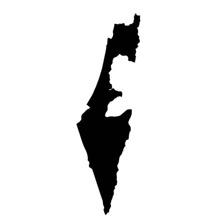 Vector map Israel. Isolated vector Illustration. Black on White background. Banco de Imagens