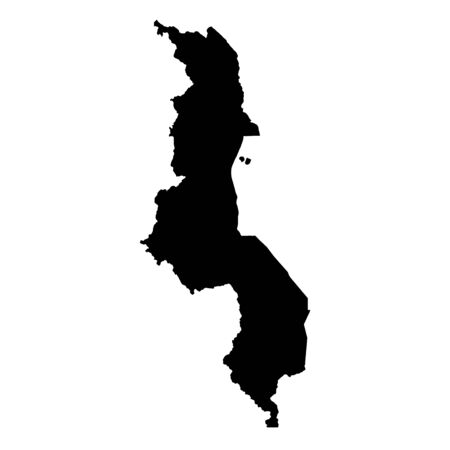 Vector map Malawi. Isolated vector Illustration. Black on White background.