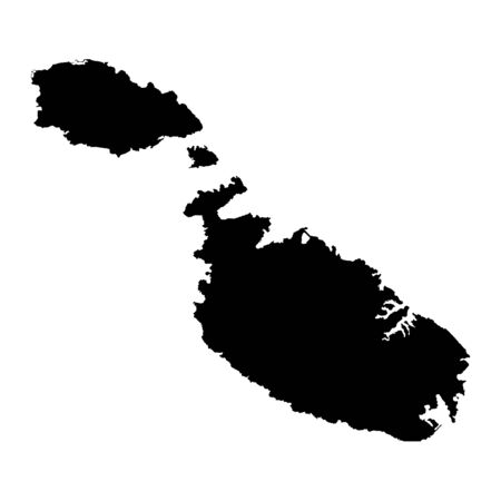 Vector map Malta. Isolated vector Illustration. Black on White background. Banco de Imagens