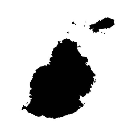 Vector map Mauritius. Isolated vector Illustration. Black on White background.
