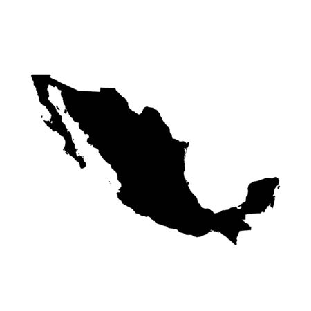 Vector map Mexico. Isolated vector Illustration. Black on White background. Banco de Imagens
