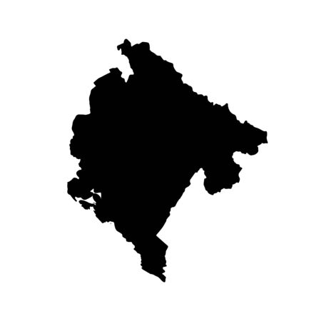 Vector map Montenegro. Isolated vector Illustration. Black on White background.