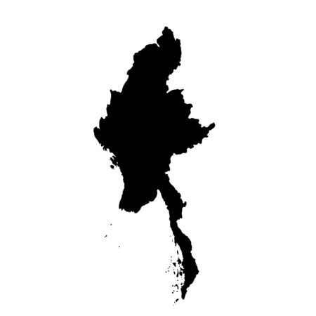 Vector map Myanmar. Isolated vector Illustration. Black on White background.