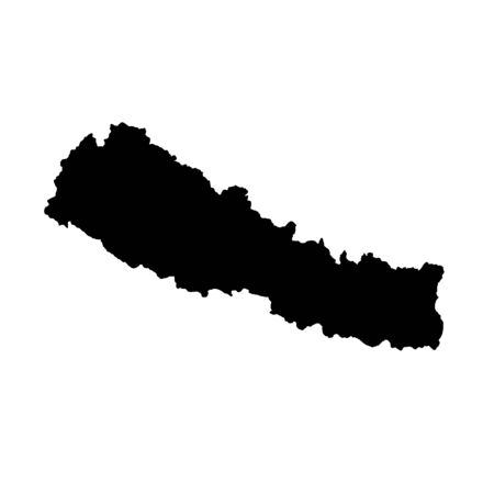 Vector map Nepal. Isolated vector Illustration. Black on White background. Banco de Imagens