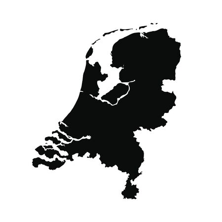 Vector map Netherlands. Isolated vector Illustration. Black on White background.